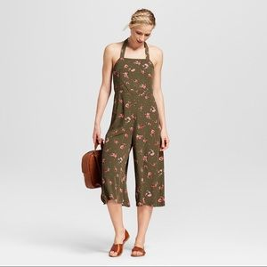 Army Green Floral Jumpsuit